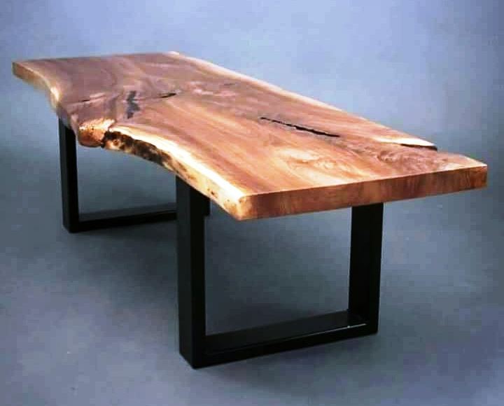 Industrial & Vintage Iron Metal & Solid Wood Acacia Live Edge Dining Table – Buy Metal Leg Dining Wood Table,chunky Wood Dining Table,live Edge Slab Intended For Iron Wood Dining Tables (View 5 of 25)