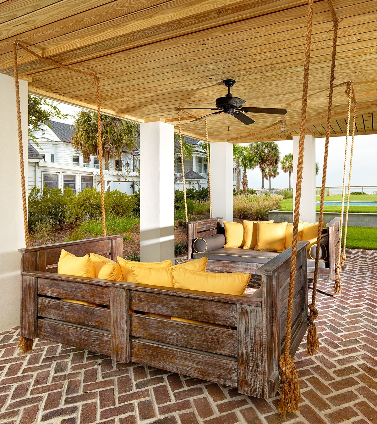 Inspirations: Enjoy Your All Day With Cozy Wooden Porch In Daybed Porch Swings With Stand (View 15 of 25)