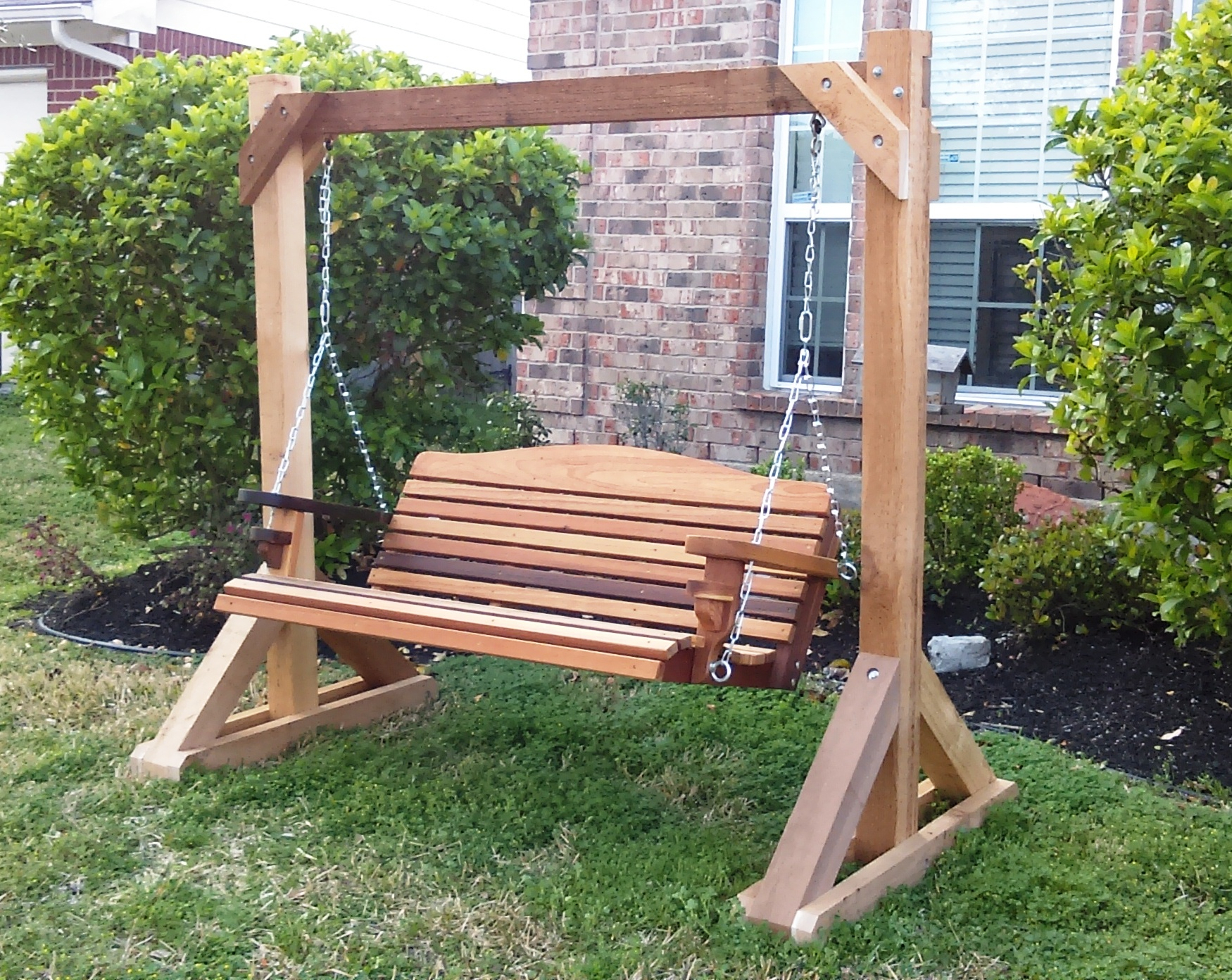Inspirations: Enjoy Your All Day With Cozy Wooden Porch Regarding Porch Swings With Stand (View 20 of 25)
