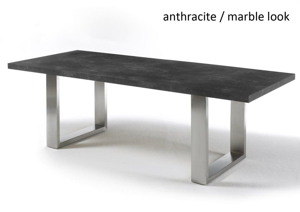 Instrument Black Stone Dining Table (D100 X H77 Cm) The Base Intended For Dining Tables With Brushed Stainless Steel Frame (View 3 of 25)