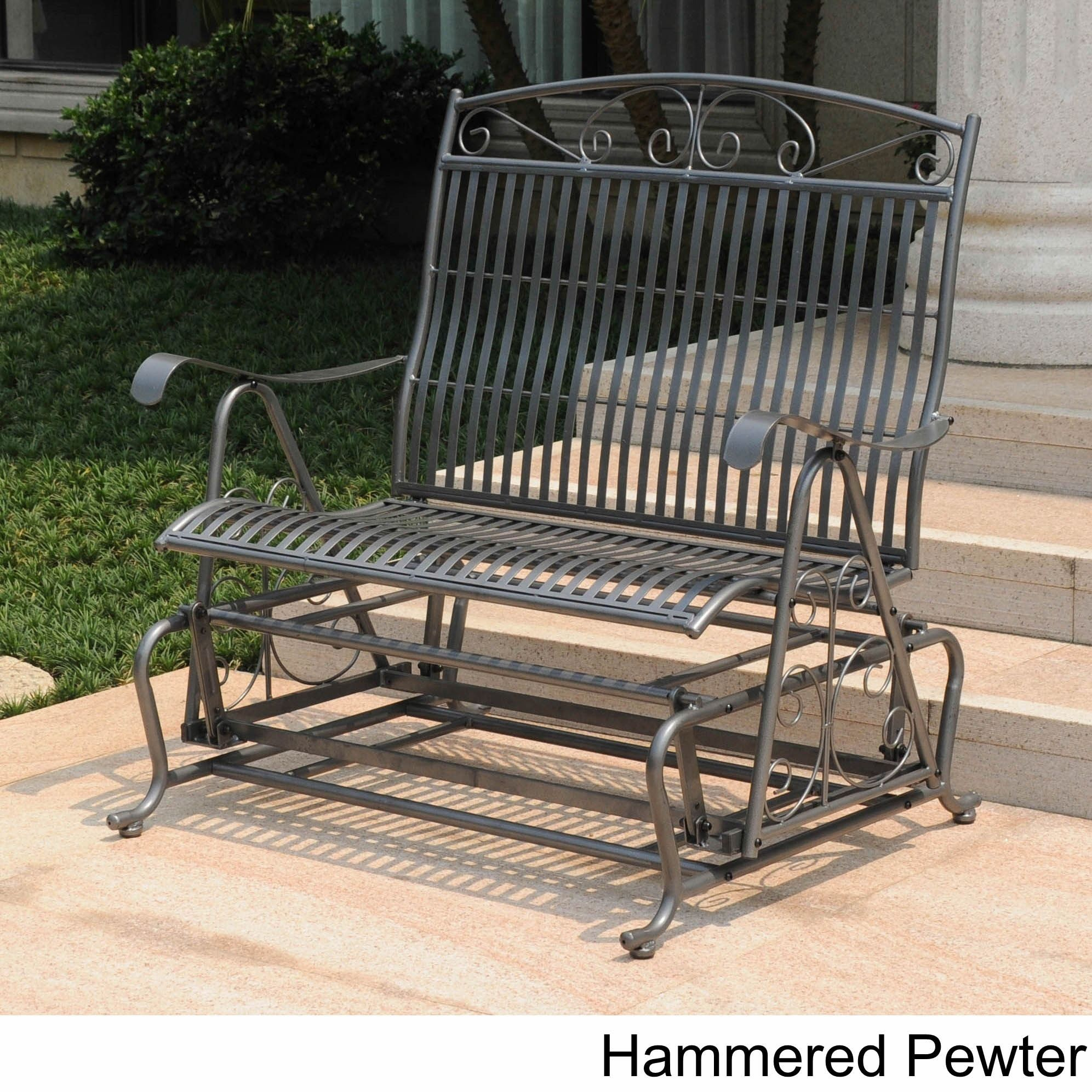 International Caravan Mandalay Iron Double Glider Bench Seat In Iron Double Patio Glider Benches (Image 13 of 25)