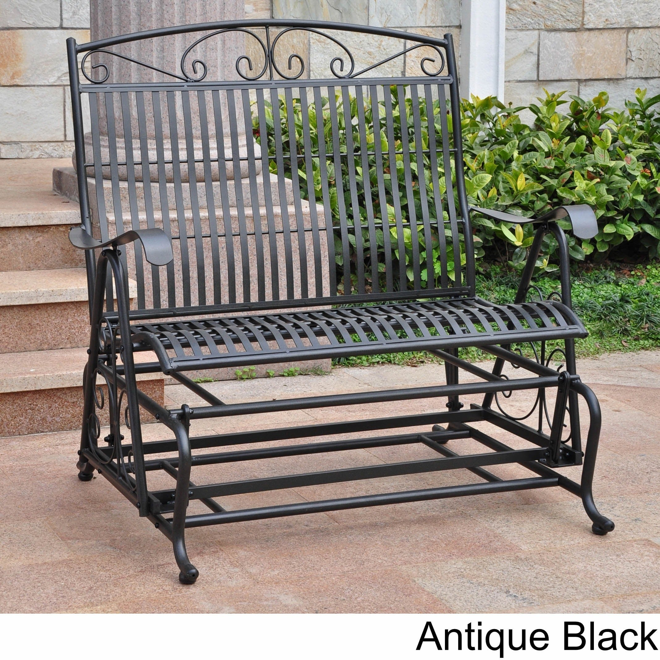 International Caravan Mandalay Iron Double Glider Bench Seat Intended For 2 Person Antique Black Iron Outdoor Gliders (Image 18 of 25)