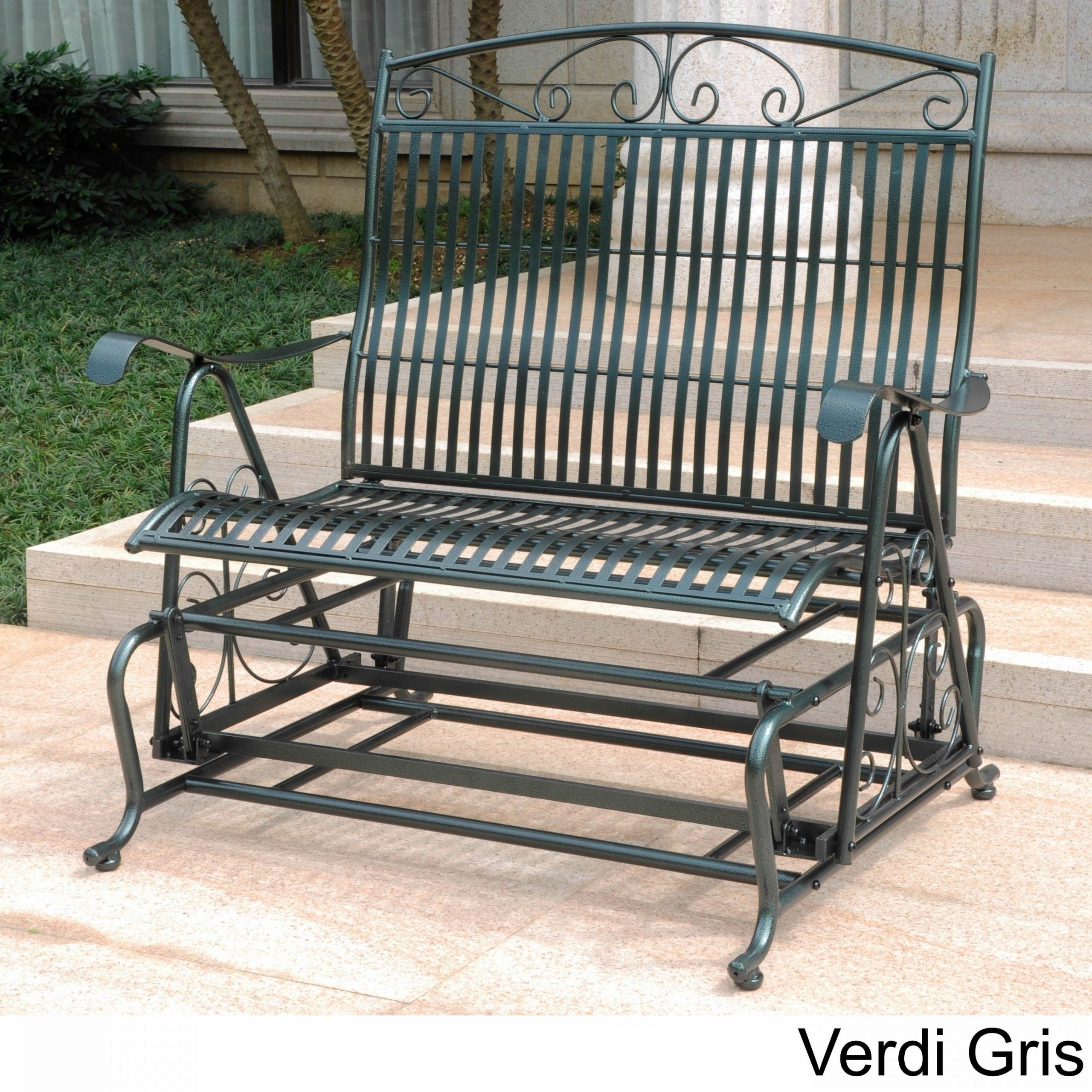 International Caravan Mandalay Iron Double Glider Bench Seat Intended For Iron Grove Slatted Glider Benches (View 8 of 26)