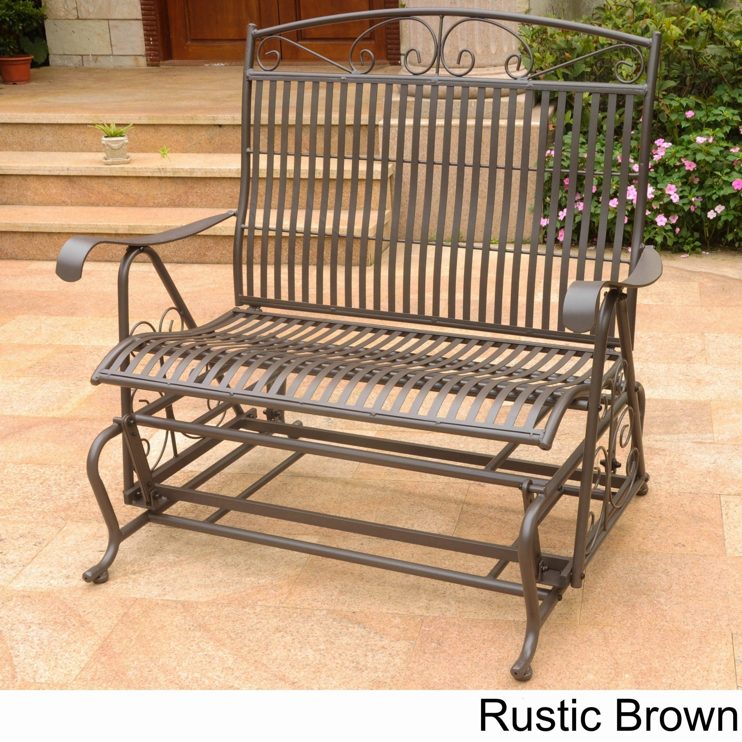 International Caravan Mandalay Iron Double Glider Bench Seat Pertaining To Iron Grove Slatted Glider Benches (View 12 of 26)