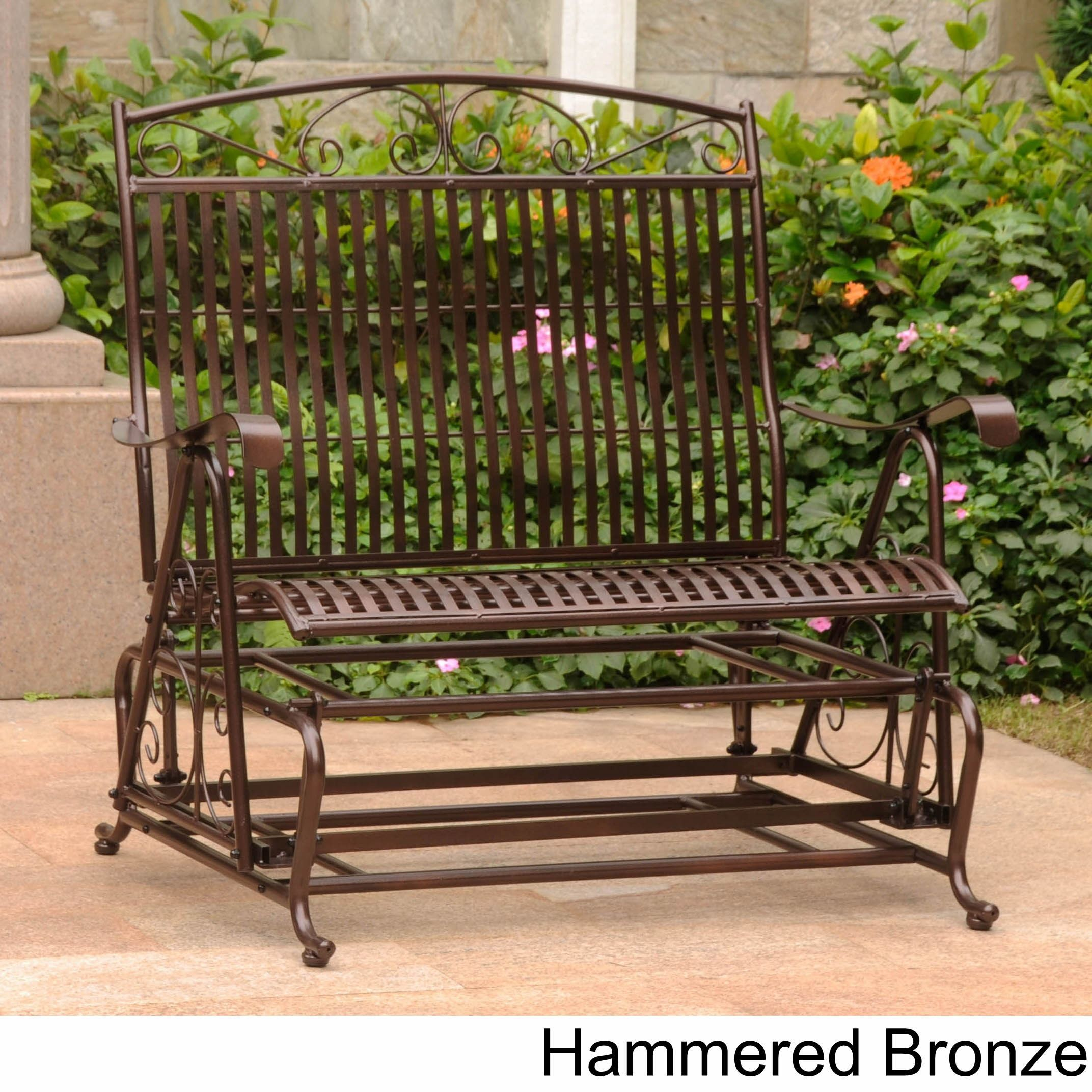 International Caravan Mandalay Iron Double Glider Bench Seat With Iron Double Patio Glider Benches (Image 15 of 25)