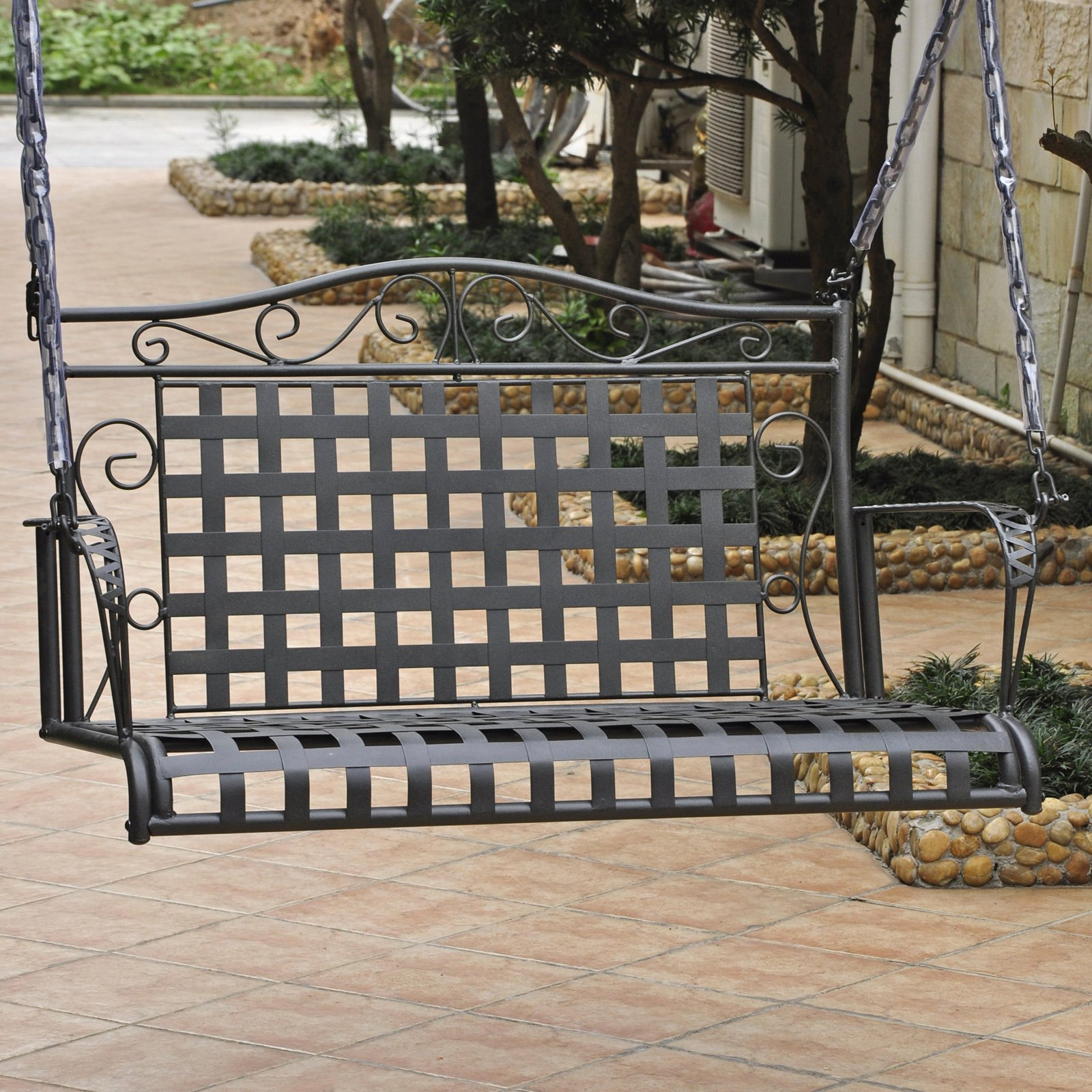 International Caravan Mandalay Iron Porch Swing Hammered With 2 Person Hammered Bronze Iron Outdoor Swings (Image 7 of 25)