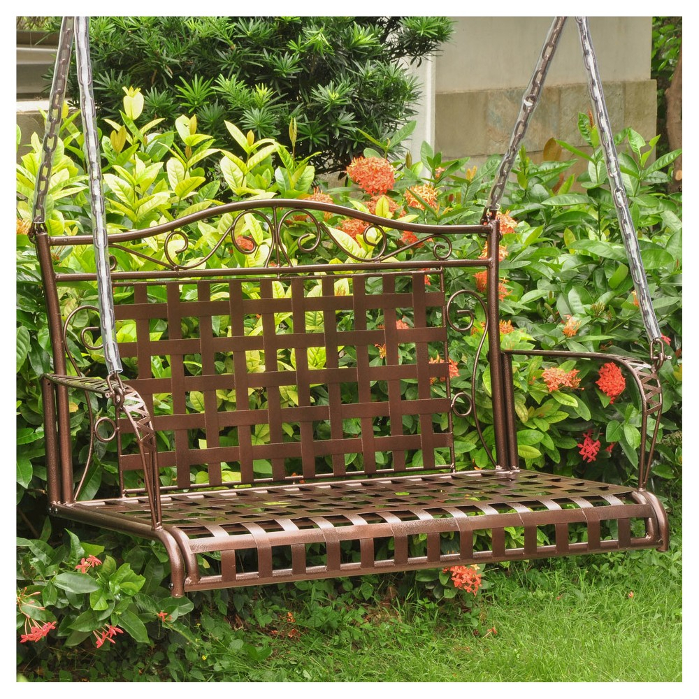 International Caravan Porch Swing – Bronze | Swings For Deck Intended For 2 Person Hammered Bronze Iron Outdoor Swings (Image 8 of 25)