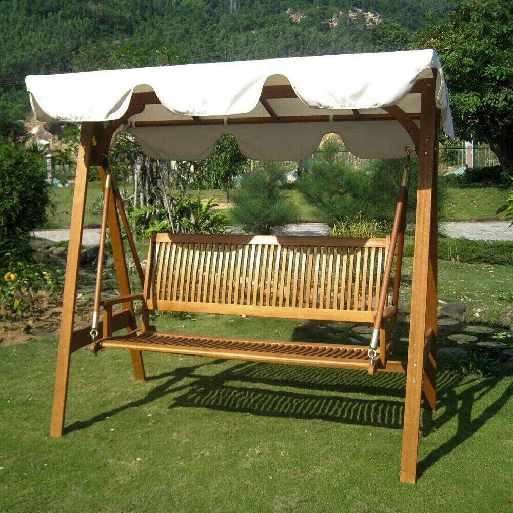 International Caravan Royal Tahiti 3 Seater Garden Swing Ivory Intended For 3 Seater Swings With Frame And Canopy (Image 18 of 25)