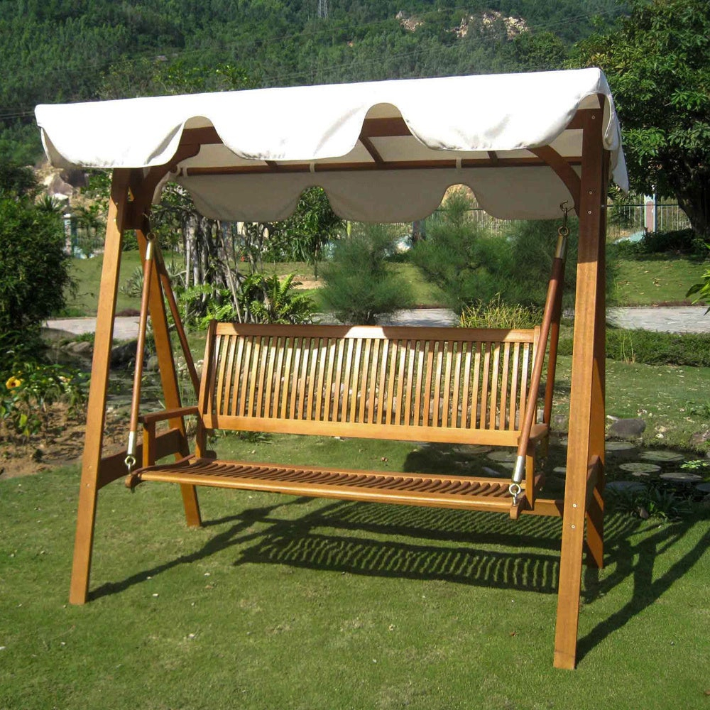International Caravan Royal Tahiti 3 Seater Garden Swing With Canopy Throughout 3 Person Light Teak Oil Wood Outdoor Swings (View 13 of 25)