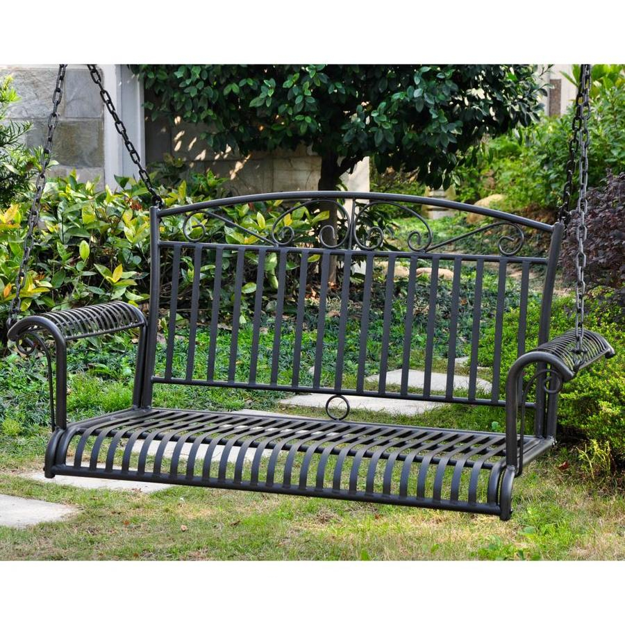 Featured Image of 2 Person Antique Black Iron Outdoor Swings