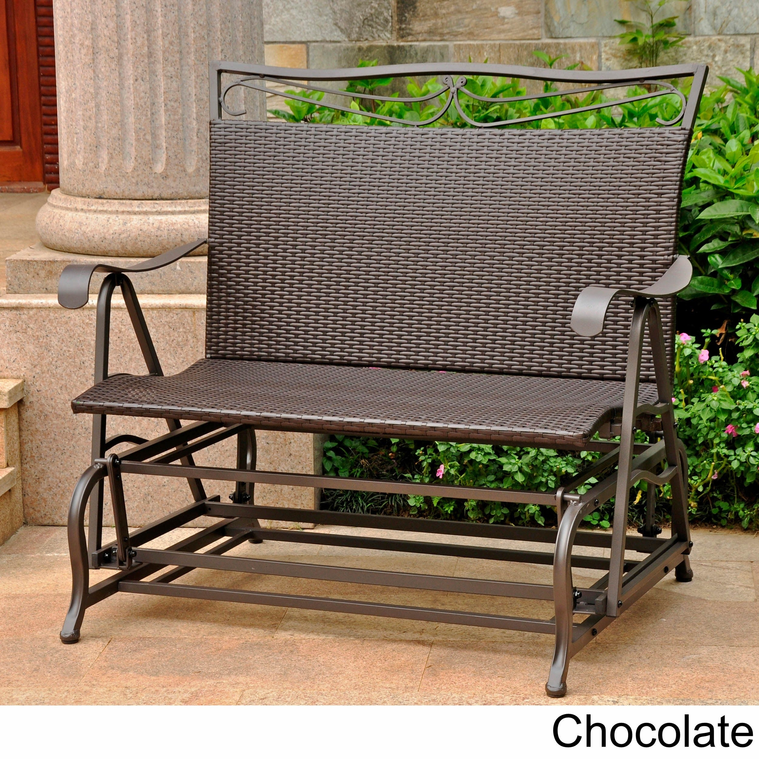 International Caravan Valencia Resin Wicker/ Steel Frame Double Glider Chair For Metal Powder Coat Double Seat Glider Benches (View 23 of 25)