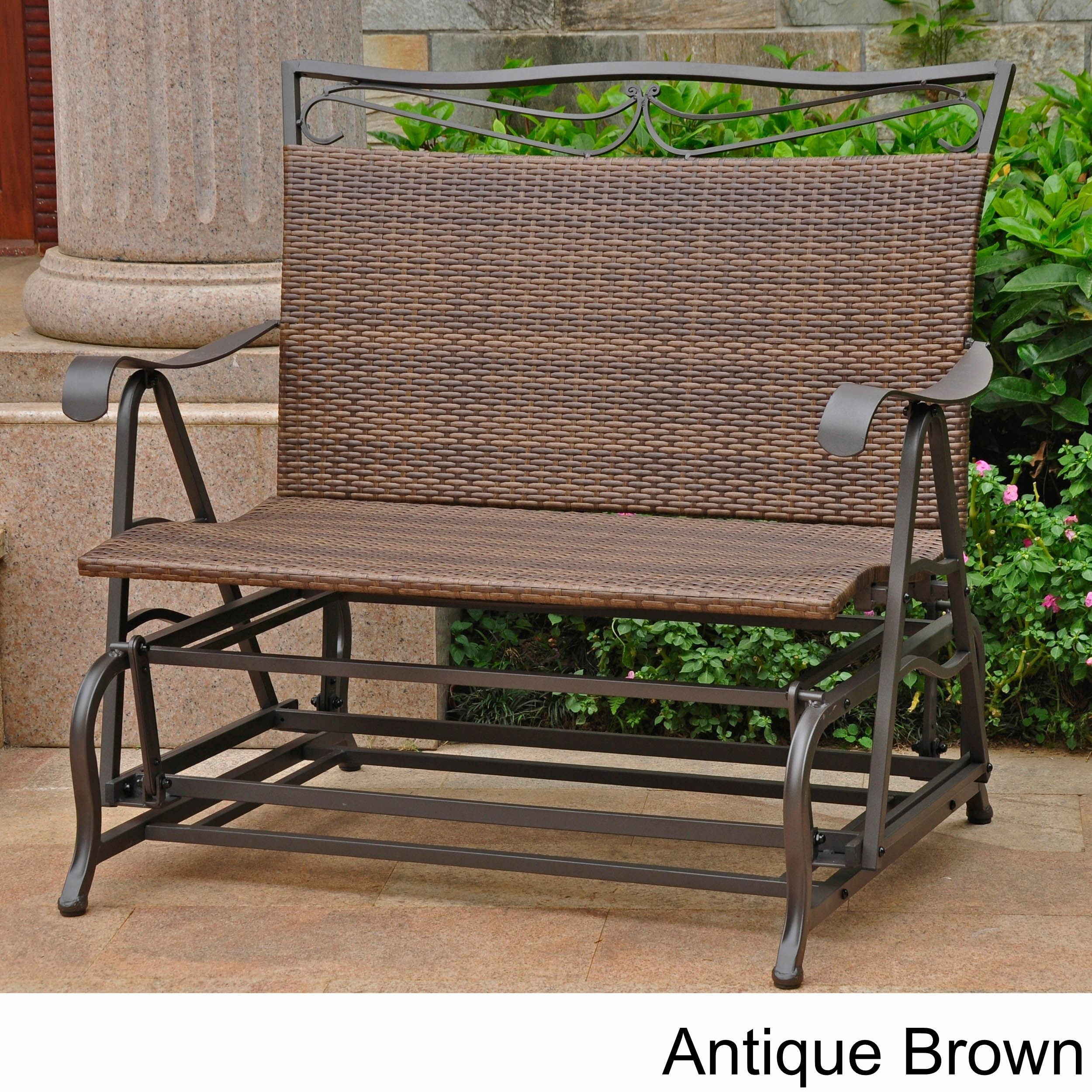 International Caravan Valencia Resin Wicker/ Steel Frame In Sling Double Glider Benches (View 5 of 25)