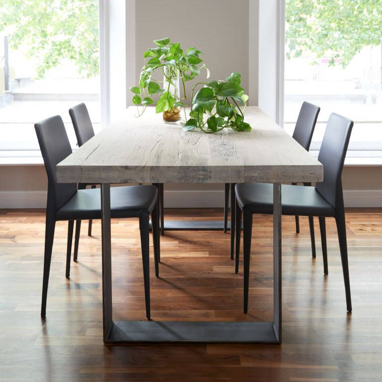 Iron And Wood Dining Table Metal Base Reclaimed Custom Within Iron Wood Dining Tables With Metal Legs (View 11 of 25)