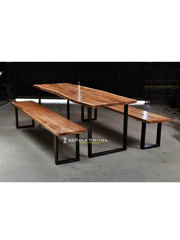 Iron Live Edge Wooden Dining Table Furniture Intended For Iron Wood Dining Tables (View 15 of 25)