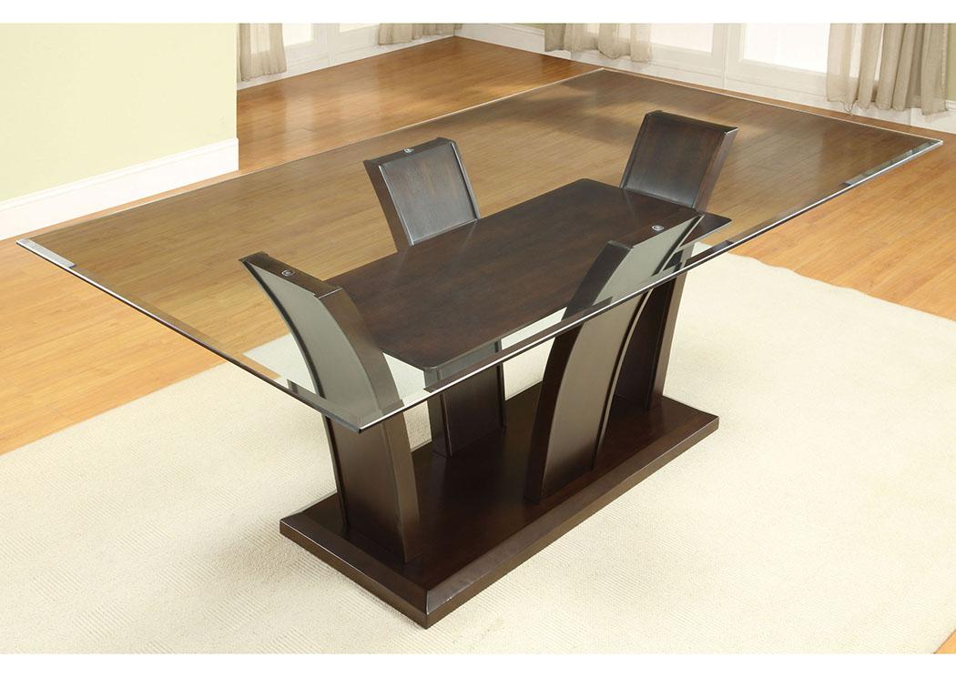Irving Blvd Furniture Manhattan L Rectangle Glass Top Dining Regarding Rectangular Glasstop Dining Tables (Image 16 of 25)