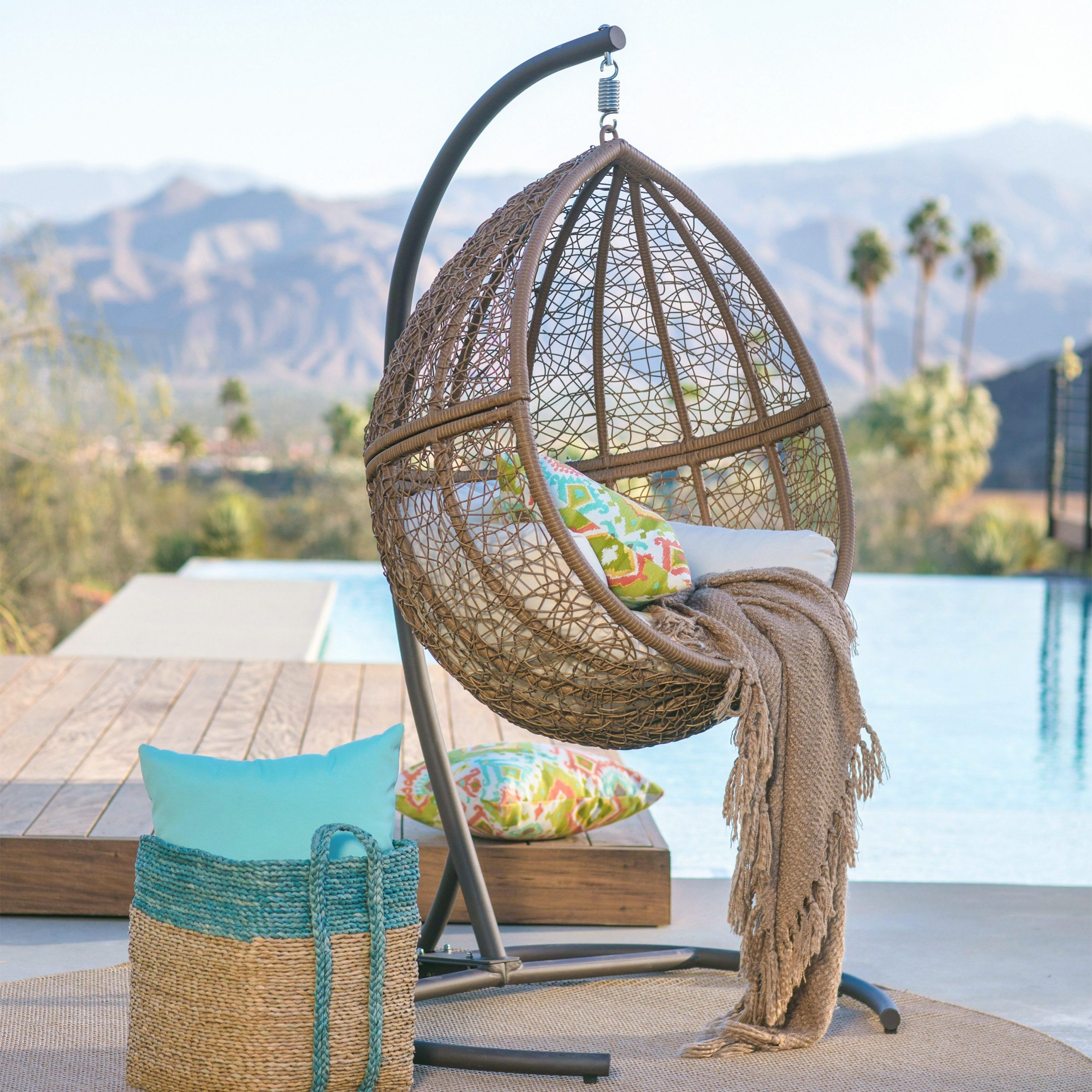 Island Bay Tanna Tear Drop Resin Wicker Egg Chair With In Outdoor Wicker Plastic Tear Porch Swings With Stand (View 14 of 25)
