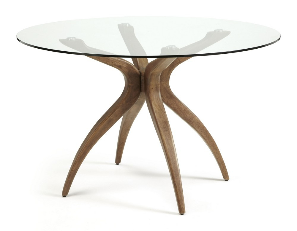 Islington Round Glass Walnut Dining Table With Round Dining Tables With Glass Top (View 14 of 25)