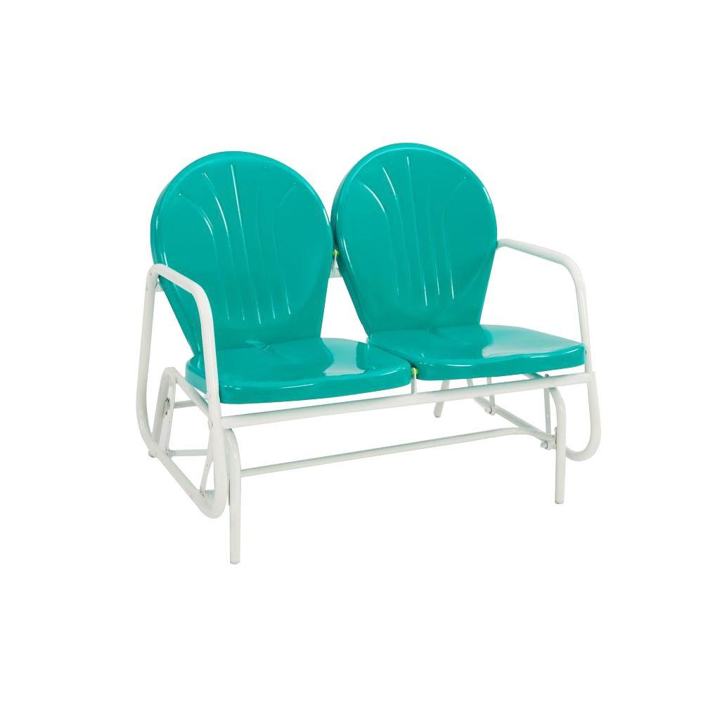 Jack Post Retro Emerald Green 2 Seat Glider Pertaining To 2 Person Antique Black Iron Outdoor Gliders (Image 19 of 25)