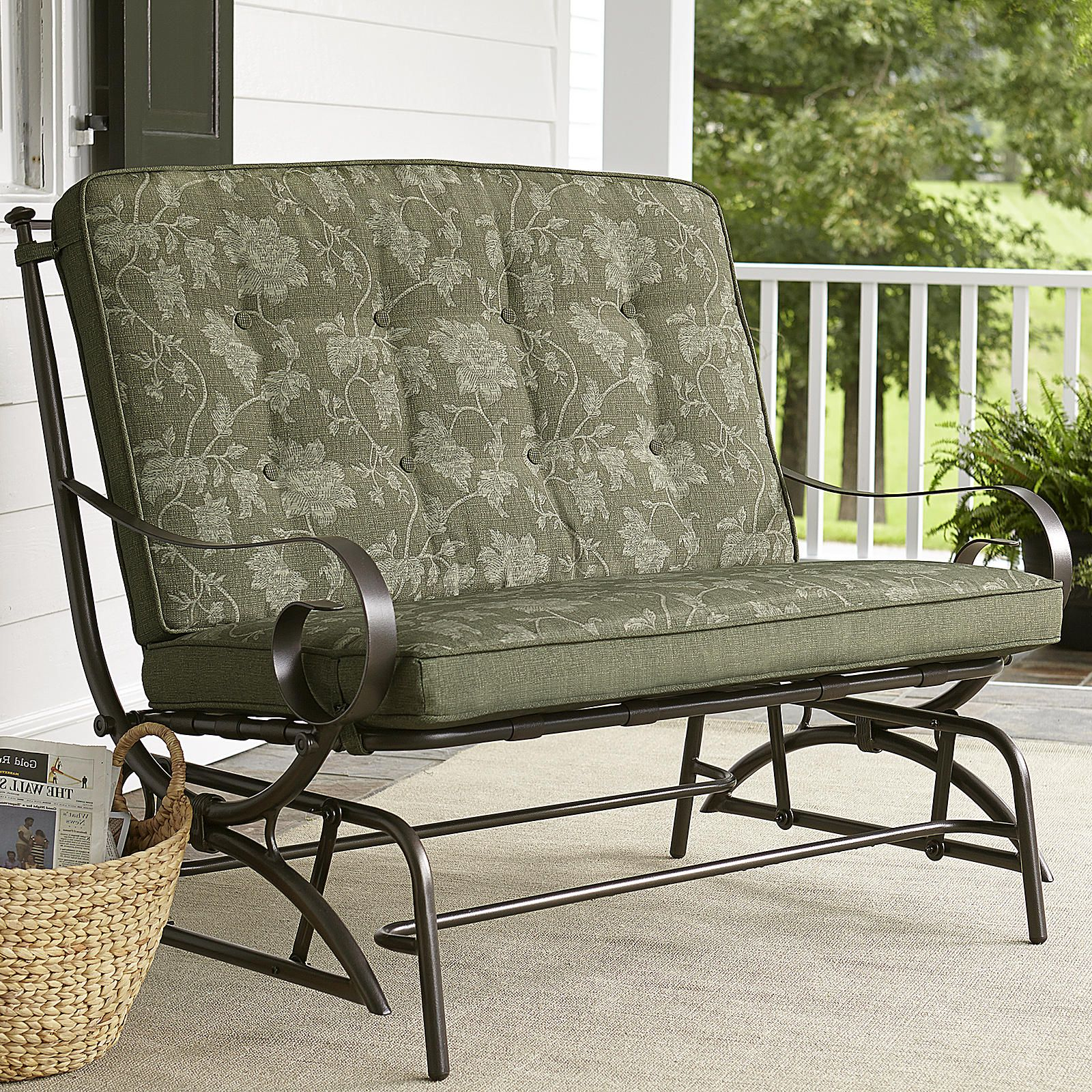 Jaclyn Smith Cora Cushion Double Glider – Outdoor Living Pertaining To Double Glider Benches With Cushion (Image 14 of 25)