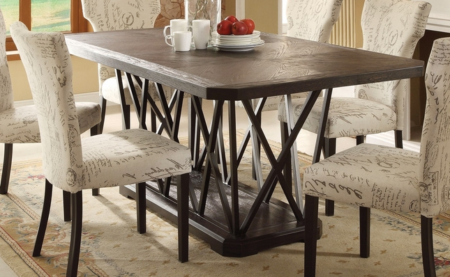 """Jamon Rustic Chic 76"""" Antique Black Wooden Top Dining Table Within Antique Black Wood Kitchen Dining Tables (View 18 of 25)"""
