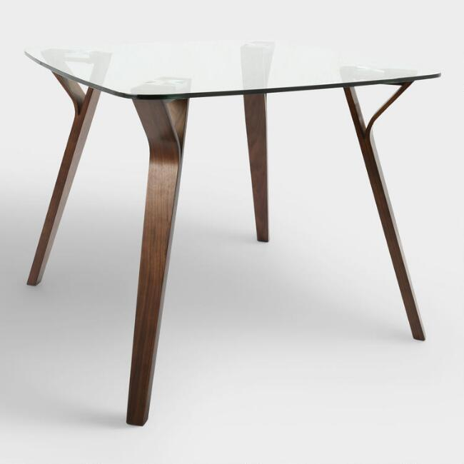 Joel Glass Wood Mid Century Dining Table Intended For Mid Century Rectangular Top Dining Tables With Wood Legs (Image 9 of 25)