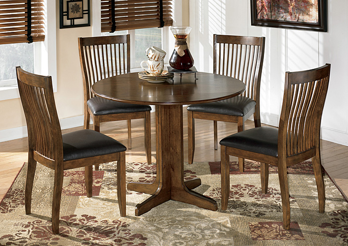 Johnson's Furniture Stuman Round Drop Leaf Table & 4 Side Chairs In Transitional 4 Seating Drop Leaf Casual Dining Tables (View 9 of 25)