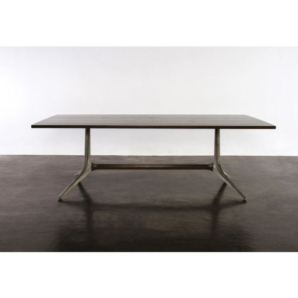 """Kahn Smoked Oak Dining Table 110"""" Regarding Dining Tables In Smoked/seared Oak (Image 10 of 26)"""
