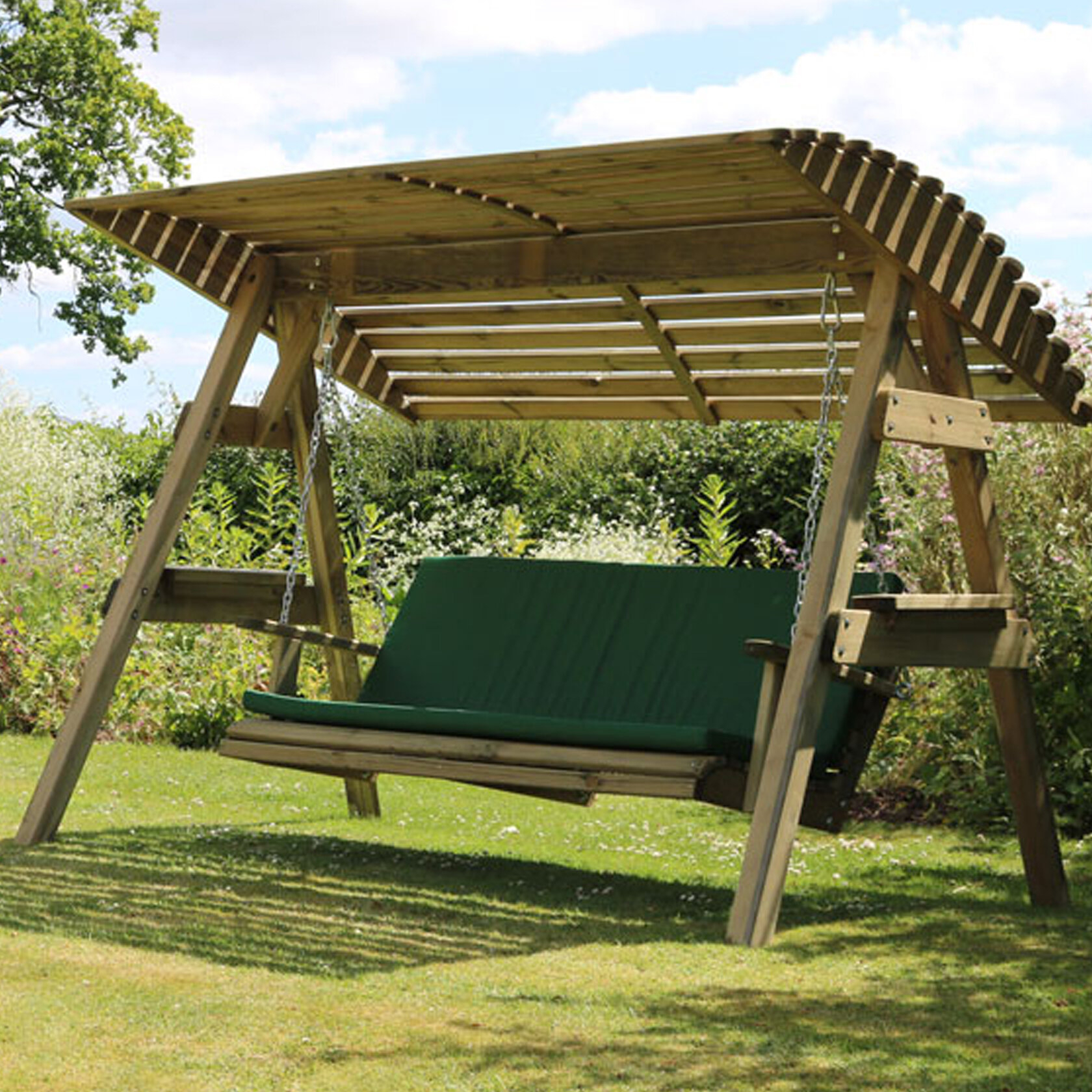 Kameron Swing Seat With Stand Inside 3 Person Light Teak Oil Wood Outdoor Swings (View 10 of 25)