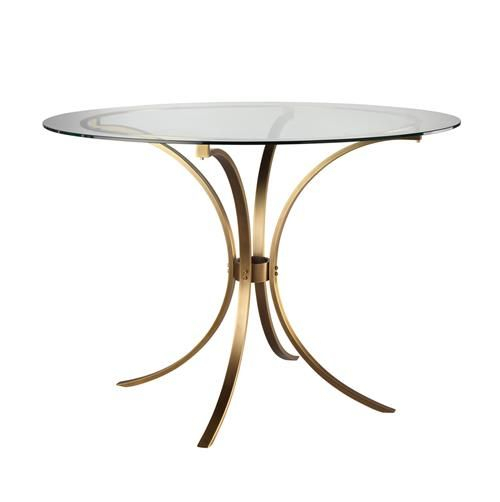 Karter Modern Classic Round Clear Glass Gold Metal Dining In Modern Gold Dining Tables With Clear Glass (View 3 of 26)