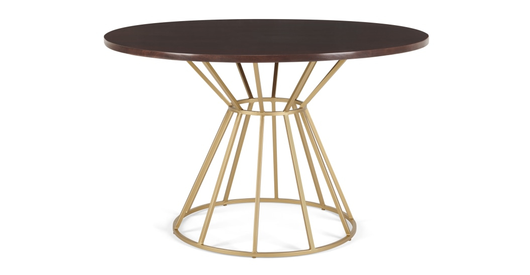 Khalida 4 Seat Round Dining Table, Dark Mango Wood And Brass Pertaining To Iron Dining Tables With Mango Wood (View 19 of 25)