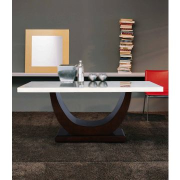 Kingsley Solid Wood Marble Top Six Seater Dining Table In Ivory Colour Hometown Regarding Wood Top Dining Tables (View 19 of 25)