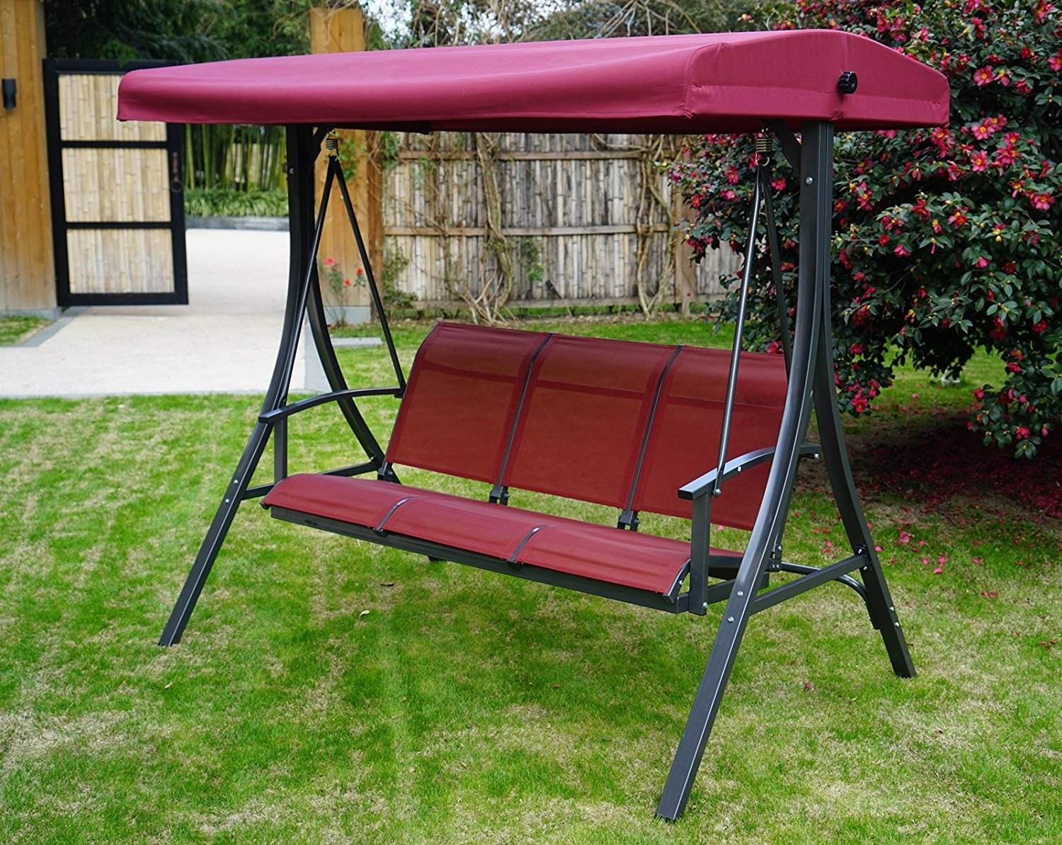 Kozyard Brenda 3 Person Outdoor Patio Swing With Strong Regarding 3 Person Red With Brown Powder Coated Frame Steel Outdoor Swings (View 11 of 25)
