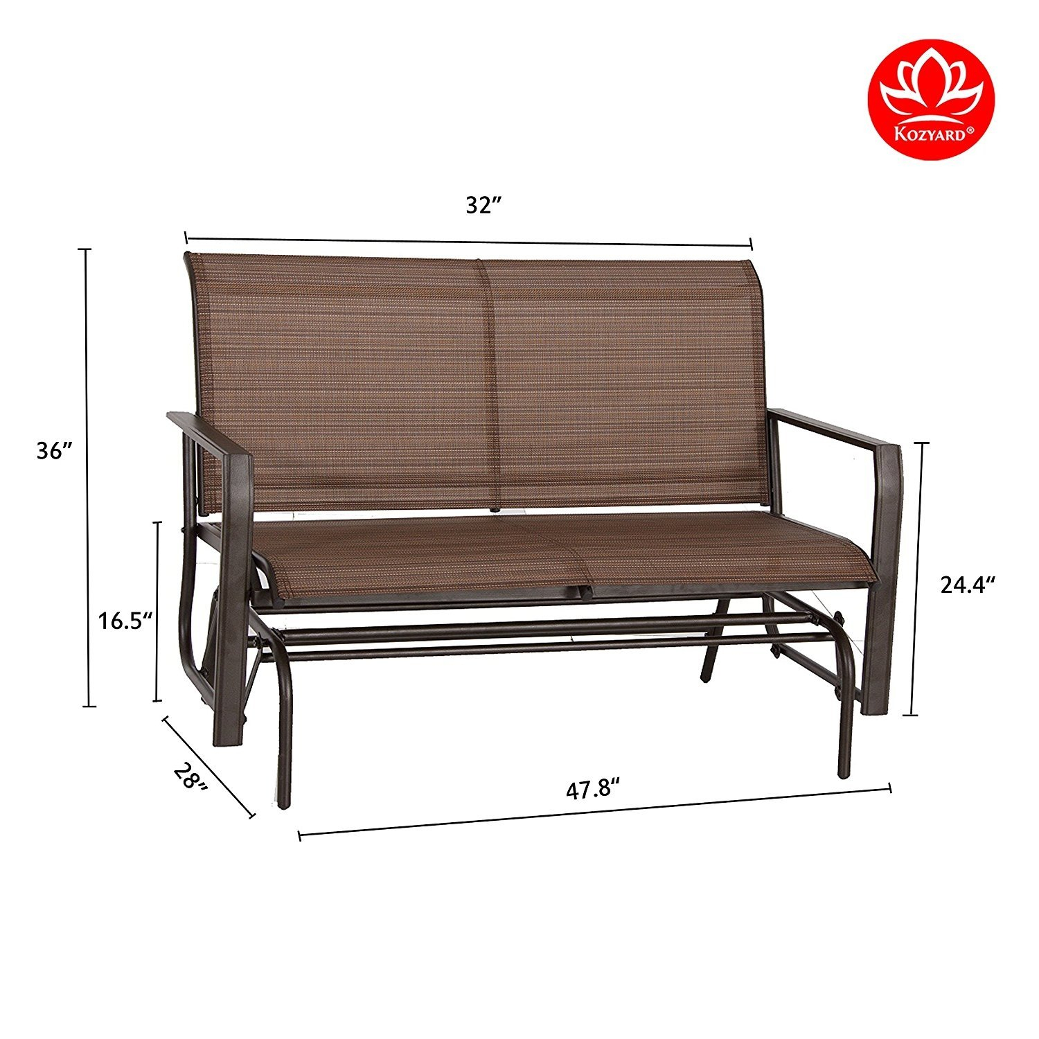 Kozyard Cozy Two Rocking Love Seats Glider Swing Bench Pertaining To 2 Person Antique Black Iron Outdoor Gliders (Image 20 of 25)