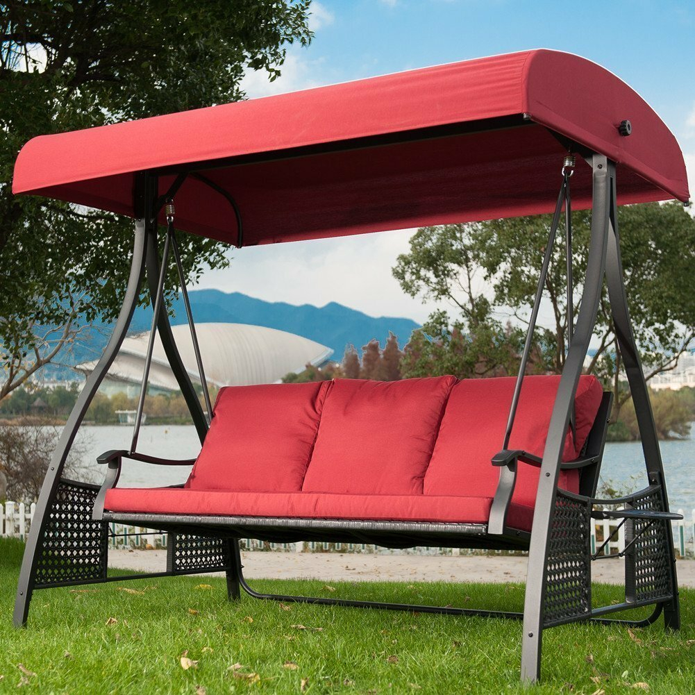 Krish Outdoor Porch Swing With Stand Pertaining To Outdoor Pvc Coated Polyester Porch Swings With Stand (View 6 of 25)