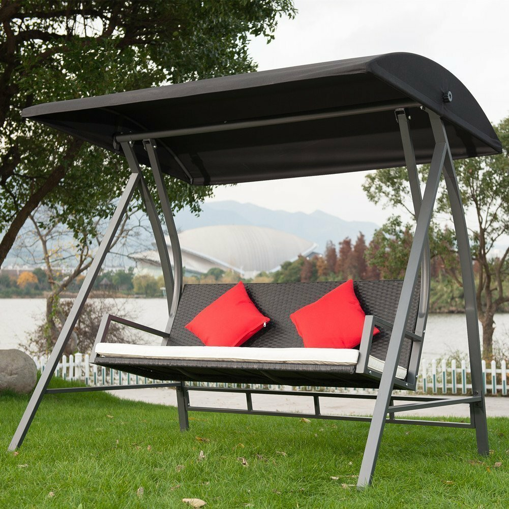 Kroeger Pe Wicker Glider Outdoor Porch Swing With Stand For Wicker Glider Outdoor Porch Swings With Stand (View 2 of 25)