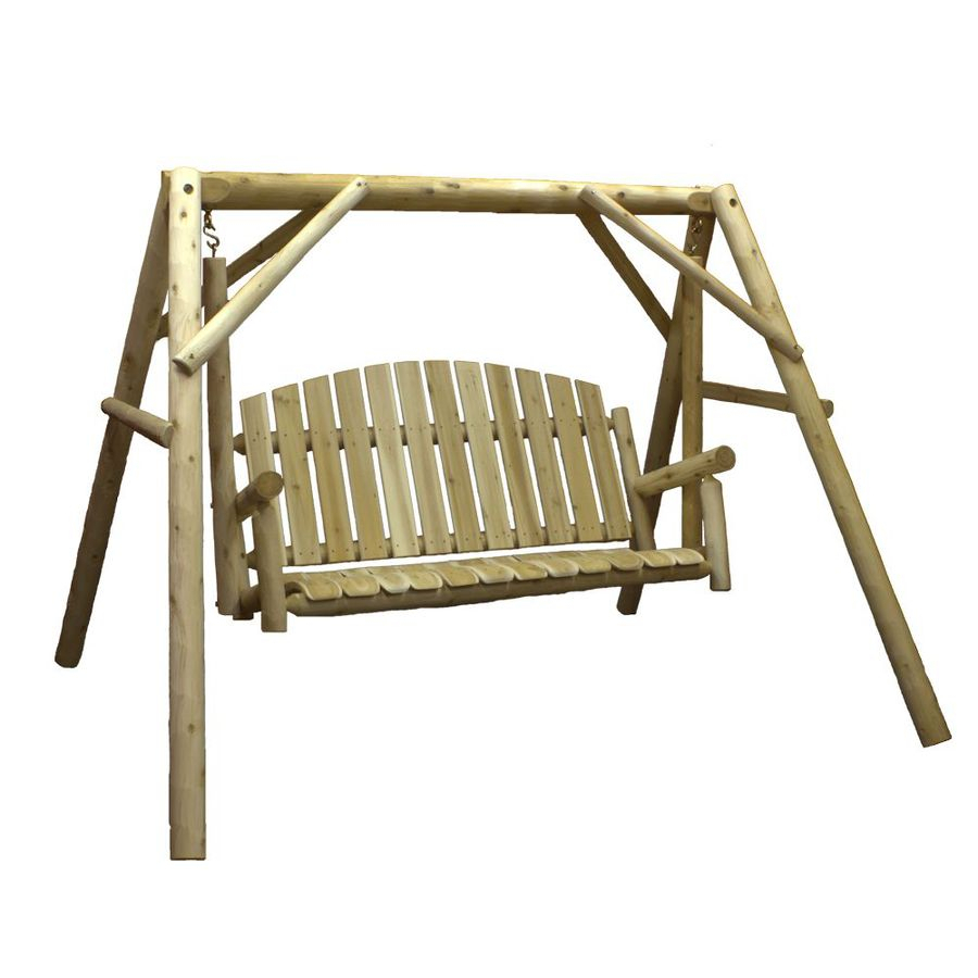 Lakeland Mills 3 Person Natural Cedar Wood Outdoor Swing At Pertaining To Patio Porch Swings With Stand (View 24 of 25)