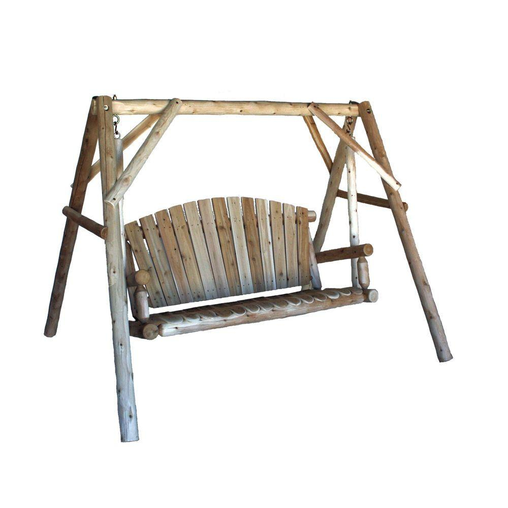 Lakeland Mills 3 Person Patio Yard Swing Throughout 2 Person Natural Cedar Wood Outdoor Swings (View 9 of 25)