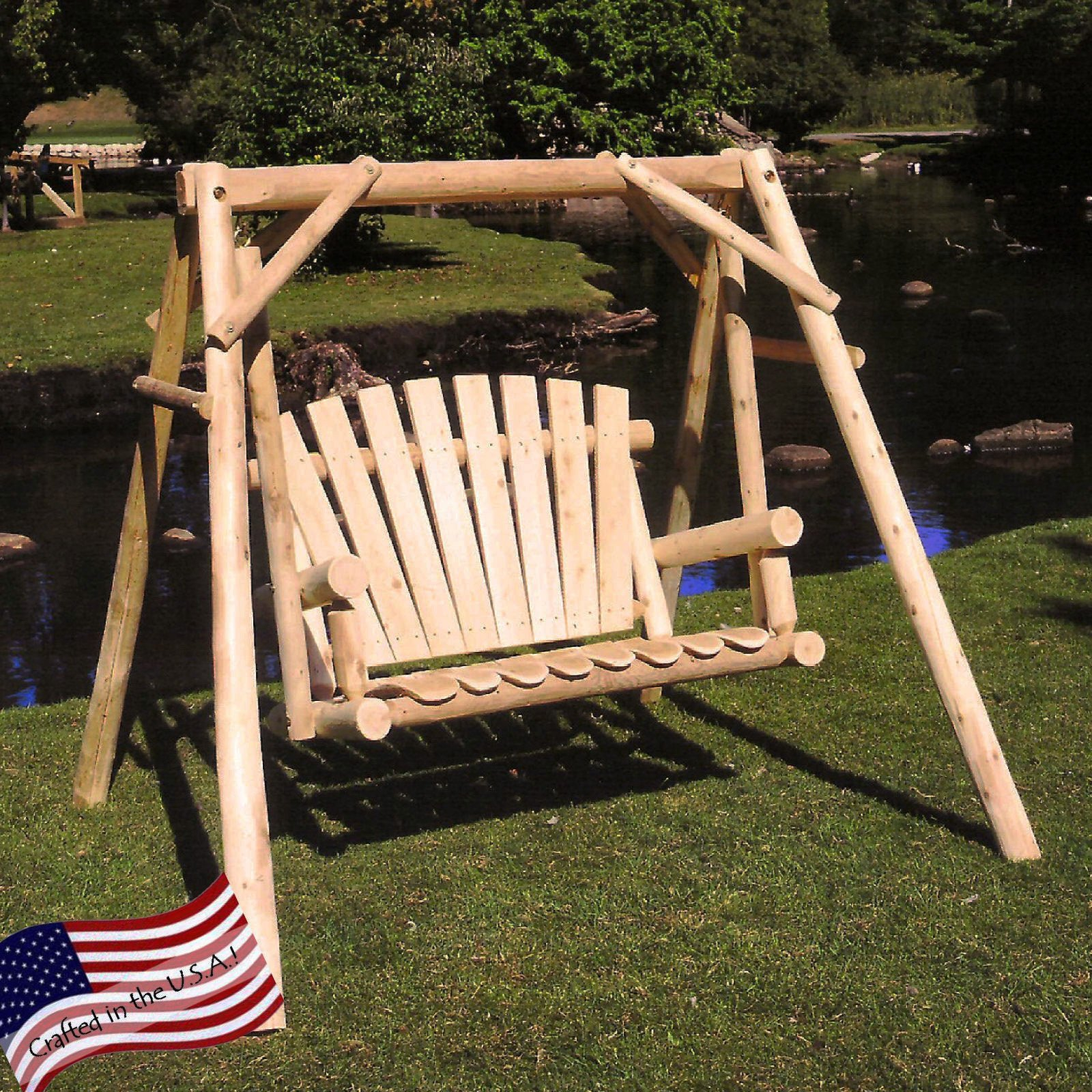 Lakeland Mills White Cedar Log Porch Swing And Stand Set – Walmart Within Porch Swings With Stand (View 4 of 25)