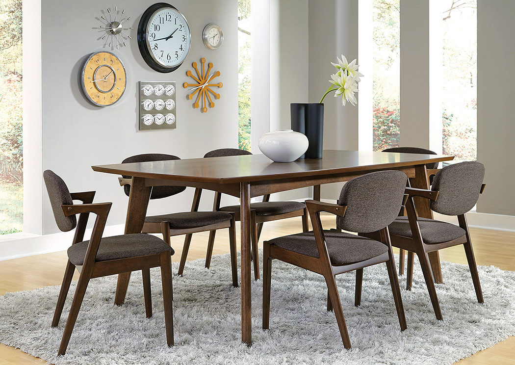 Lancaster's Furniture To Go!! Walnut Dining Table W/6 Chairs Throughout Coaster Contemporary 6 Seating Rectangular Casual Dining Tables (View 22 of 25)