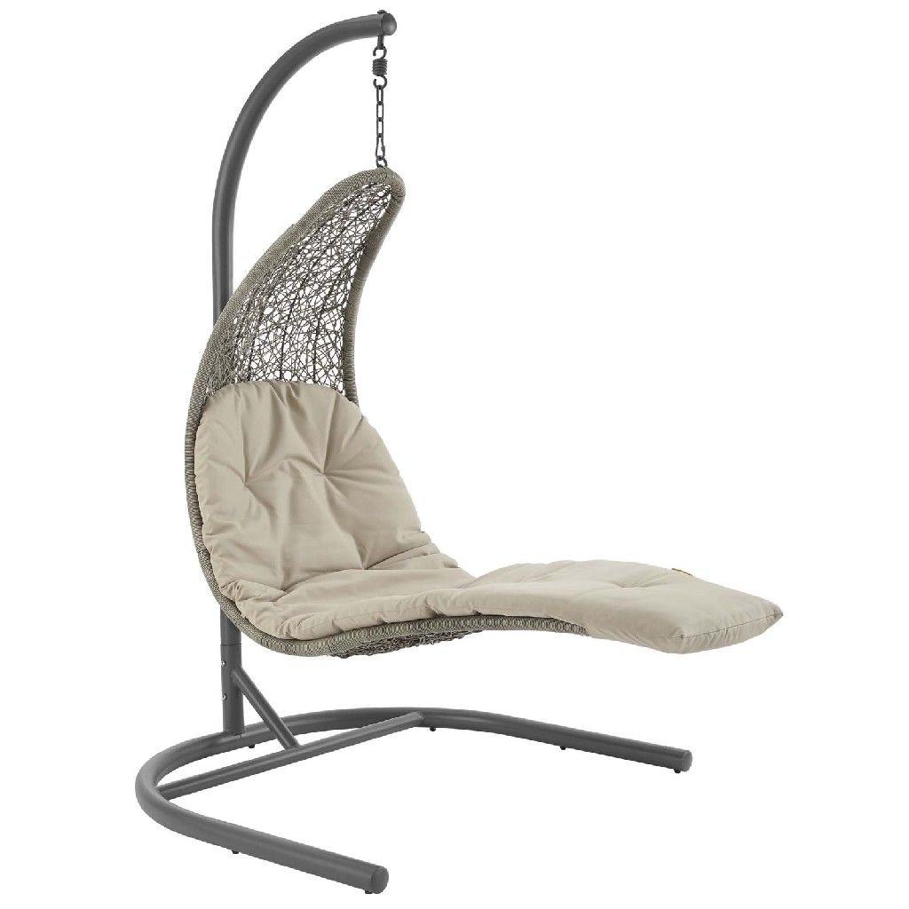 Landscape Hanging Chaise Lounge Outdoor Patio Swing Chair Within Outdoor Swing Glider Chairs With Powder Coated Steel Frame (View 21 of 25)