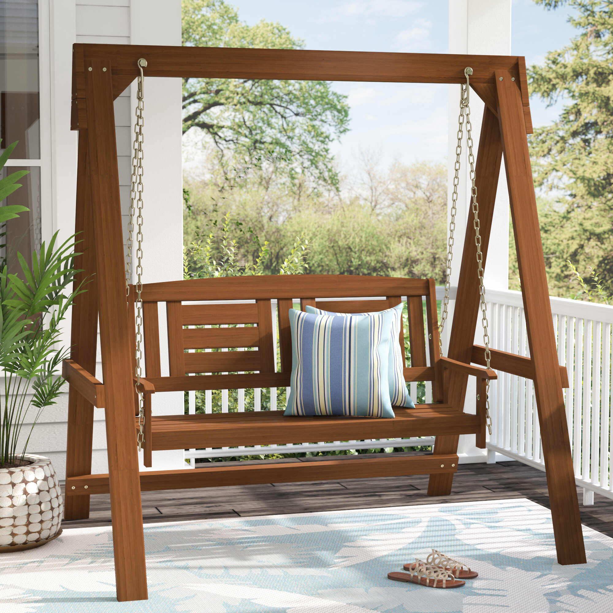 Langley Street Arianna Hardwood Hanging Porch Swing With In Patio Loveseat Canopy Hammock Porch Swings With Stand (Image 17 of 25)