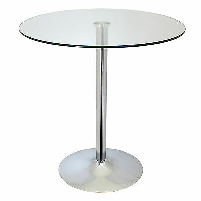 Large Circular Glass Top Bistro/dining Table Bar/cafe Style Regarding Acacia Dining Tables With Black Rocket Legs (Image 17 of 25)