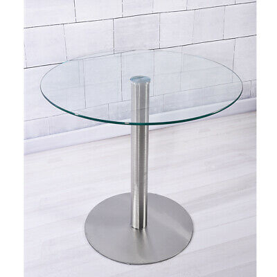 Large Circular Glass Top Bistro/dining Table Bar Round With Acacia Dining Tables With Black Rocket Legs (Image 16 of 25)