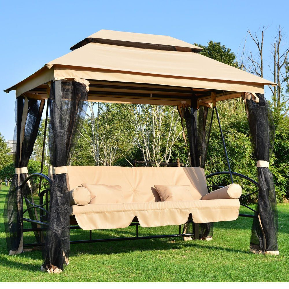Large Garden Gazebo Swing Seat Bench Hammock Canopy Cushions Throughout Canopy Patio Porch Swing With Stand (View 5 of 25)
