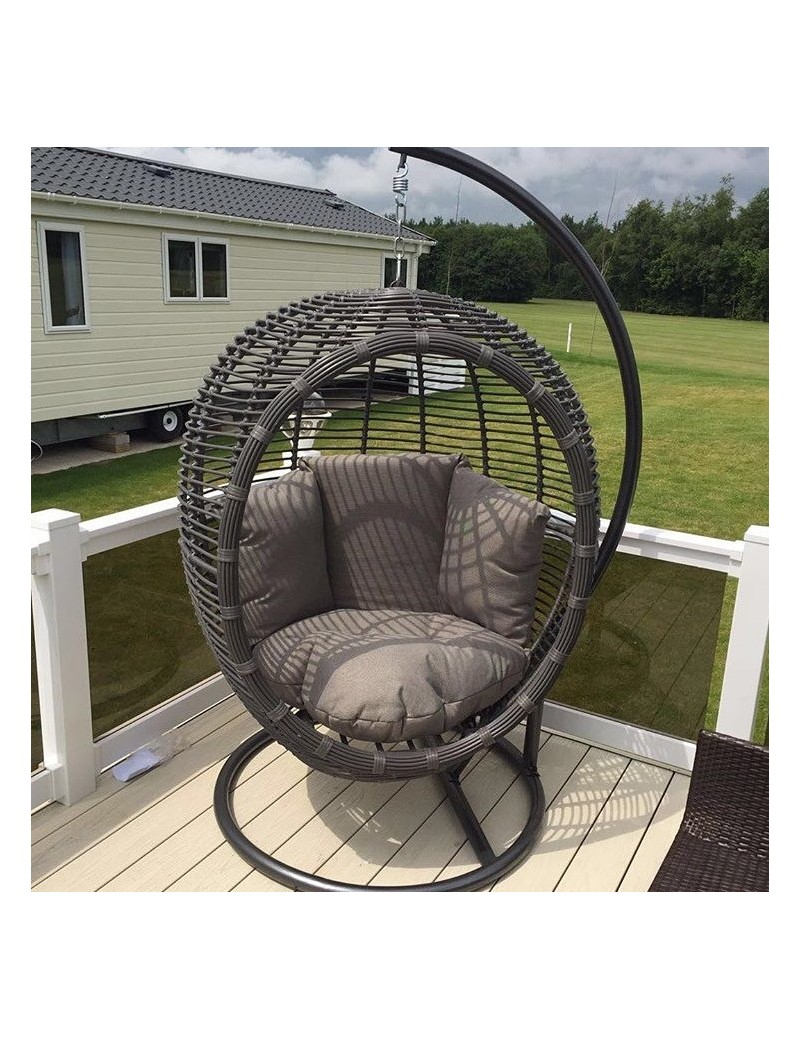 Large Luxurious Grey Rattan/wicker Garden Hanging Pod Chair/swing With Comfort Cushion For Rattan Garden Swing Chairs (View 4 of 25)