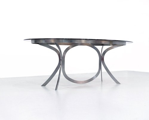 Large Space Age Stainless Steel Dining Table With Smoked Glass Top With Smoked Oval Glasstop Dining Tables (View 2 of 25)