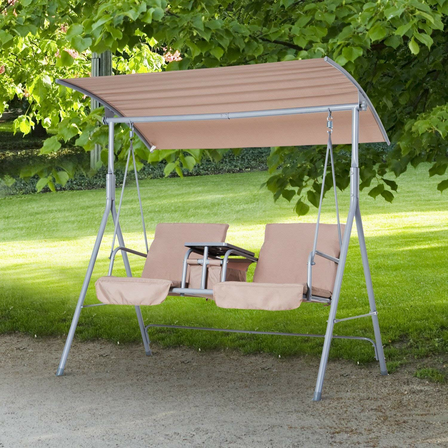 Laron Covered Patio Porch Swing With Stand For Canopy Patio Porch Swing With Stand (View 9 of 25)