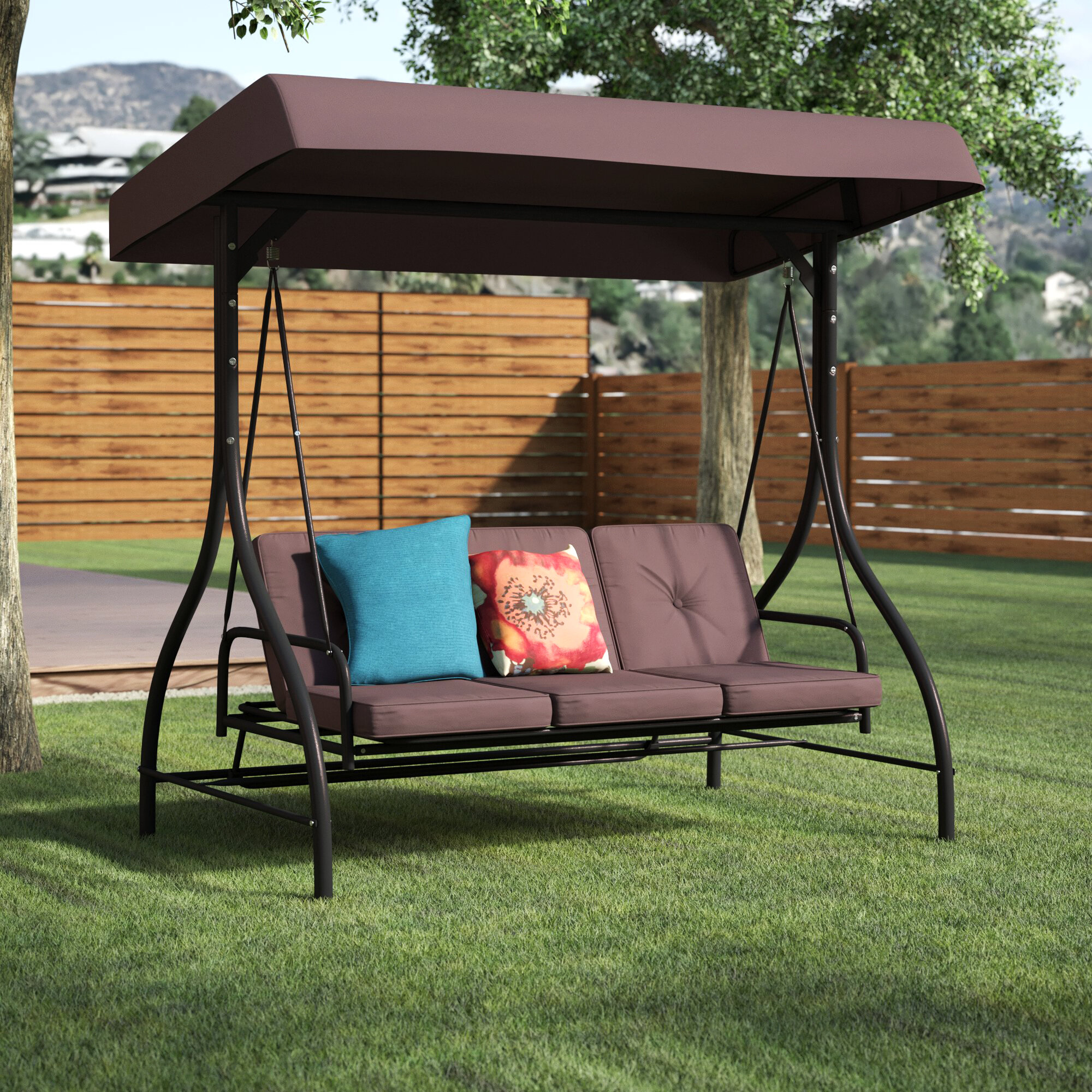 Lasalle Canopy Patio Porch Swing With Stand Within Canopy Porch Swings (Image 11 of 25)