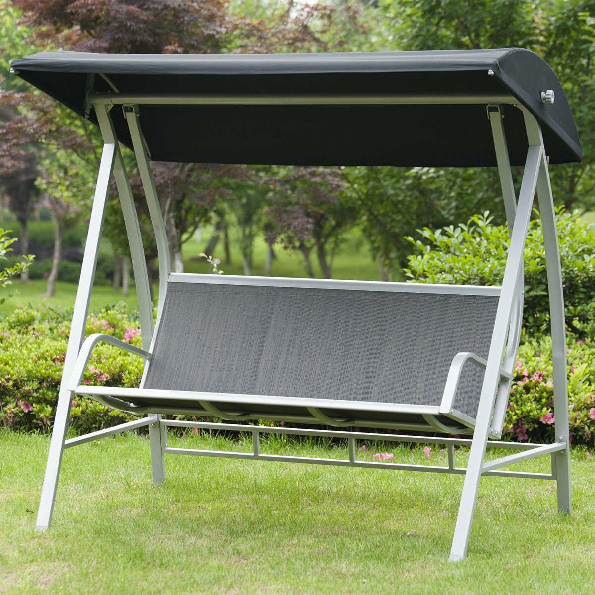 Featured Image of Outdoor Pvc Coated Polyester Porch Swings With Stand
