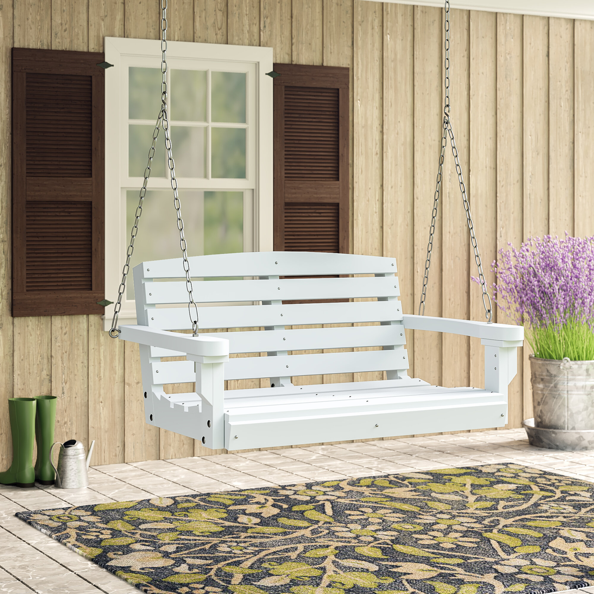 Laurel Foundry Modern Farmhouse Sawyerville Porch Swing In Nautical Porch Swings (View 21 of 25)